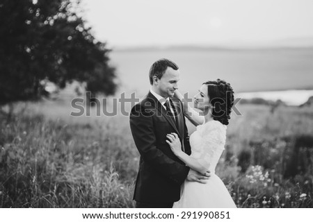 Groom and bride at countryside. Wedding  couple together posing during sunset at summer field.