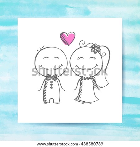groom and bride, hand drawn wedding couple on white paper page with watercolor background - stock photo