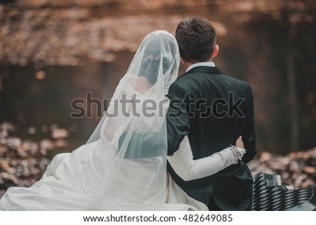 Groom and Bride in a park. Sitting on the pier. Back view. Kissing couple. Autumn lake with red leaves.