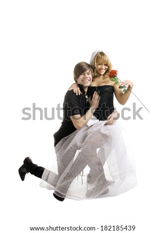 groom and bride portrait isolated on white