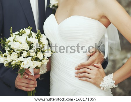 Groom and bride together. Wedding couple. - stock photo