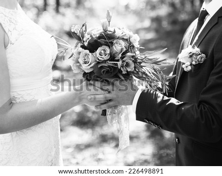 Groom and bride together. Wedding couple. Black and white photo - stock photo