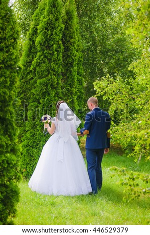Groom and Bride walk in park. A loving couple in the wedding day. Summer sunny day.