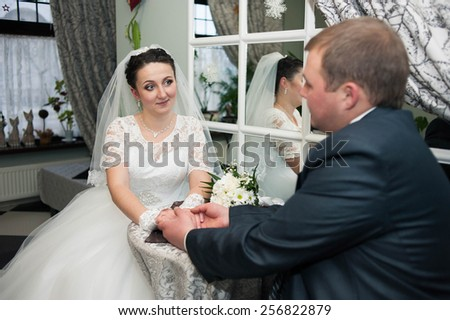 Groom and Bride. wedding dress. Bridal wedding bouquet of flower - stock photo