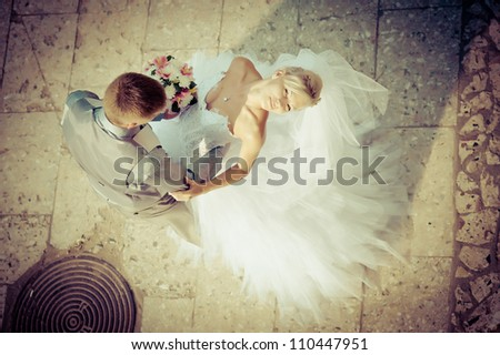 Groom and Bride. Wedding dress. Bridal wedding bouquet of flowers