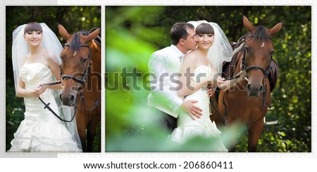 groom and the bride during walk in their wedding day against a brown horse - stock photo
