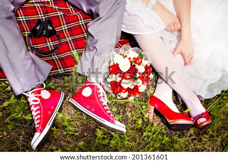 Groom Dresses red wedding shoes bride  - stock photo