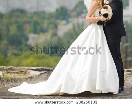 groom embracing bride in dress with long tail - stock photo