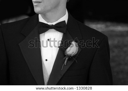 Groom in tux - stock photo