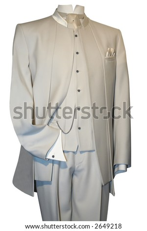 Groom's wedding suit on a mannequin isolated on white (with clipping path)