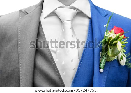 Groom with blue suit and white tie. Part gray part color. Concept shot for mixed feelings about weddings - stock photo
