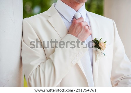 Groom with the boutonniere and tie - stock photo