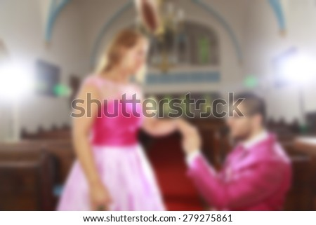 grooms kissing bride in the church wedding background