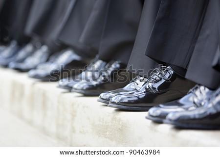 groomsmen's shoes - stock photo