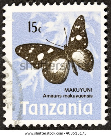 GROOTEBROEK ,THE NETHERLANDS - MARCH 31,2016 : A stamp printed in Tanzania shows African Snout Butterfly, Libythea Laius, Insect, circa 1973 - stock photo