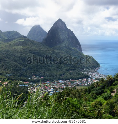 Gros and Petit Pitons near Soufriere in St. Lucia - stock photo