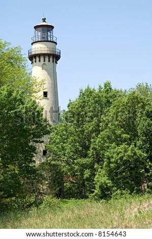 Grosse Point Light, Evanston, Illinois,  Lake Michigan - stock photo
