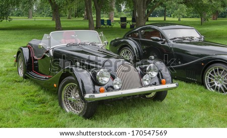 GROSSE POINTE SHORES, MI/USA - JUNE 16: A 2003 Morgan TS and a 2010 Morgan Aero Max at EyesOn Design, on June 16, 2013, held at the Edsel and Eleanor Ford House, Grosse Pointe Shores, Michigan.