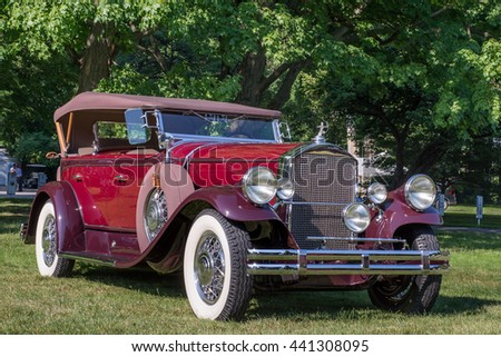 GROSSE POINTE SHORES, MI/USA - JUNE 19, 2016: A 1938 Pierce Arrow Sport Phaeton car at the EyesOn Design car show, held at the Edsel and Eleanor Ford House, near Detroit, Michigan.