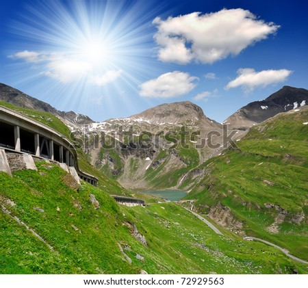Grossglockner Hochalpenstrasse - the most famous mountain roads in the Austrian Alps - stock photo