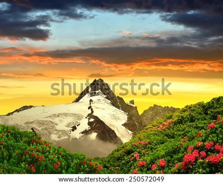 Grossglockner in the sunset, National Park Hohe Tauern, Austria - stock photo
