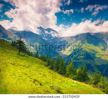 Grossglockner mountain range in the morning mist. Austria, Alps, Europe. - stock photo
