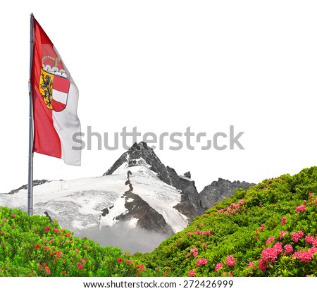 Grossglockner with flag of Salzburg on white background , National Park Hohe Tauern, Austria - stock photo