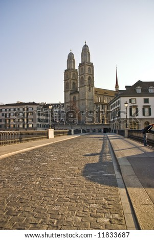 Grossmunster Cathedral Zurich at sunrise - stock photo