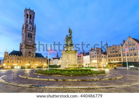 Grote Markt square in medieval city Brugge, Belgium. - stock photo