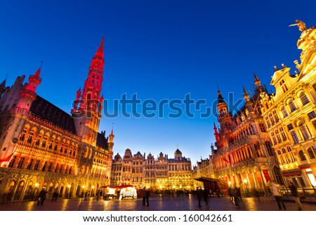 Grote Markt - The main square and Town hall of Brussels, Belgium, Europe. - stock photo