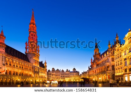 Grote Markt - The main square and Town hall of Brussels, Belgium, Europe. Brussels (French: Bruxelles ; Dutch: Brussel, is the capital of Belgium and the de facto capital of the European Union (EU). - stock photo