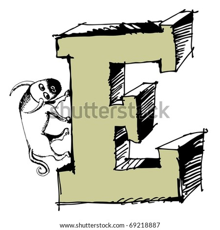 grotesque ABC, scribble letter E isolated on white background - stock photo