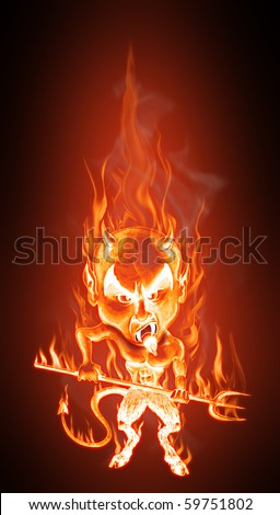 Grotesque caricature of an angry burning devil. Cartoon style - Realistic flames effect - stock photo