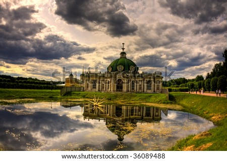 Grotto pavilion in Kuskovo mansion in Moscow, Russia - stock photo