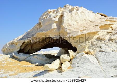 Grotto. The limestone formation in White Desert, Sahara, Egypt - stock photo