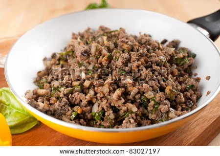 Ground Beef Fried with Mushrooms - stock photo