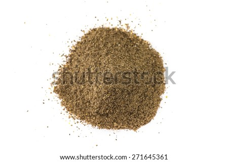 Ground black pepper isolated on white background - stock photo
