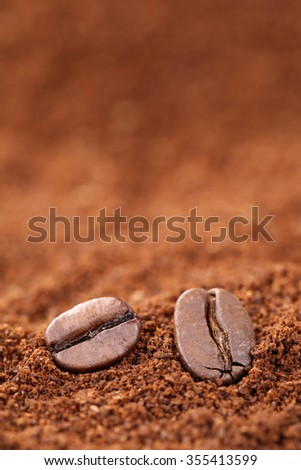 Ground coffee beans with copyspace Arabica Espresso