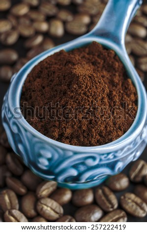 Ground coffee in a bowl close up - stock photo