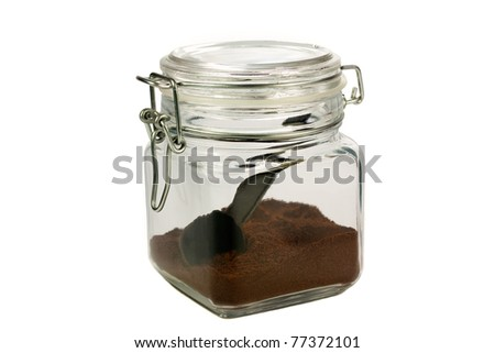 Ground coffee in a sealed jar isolated on white background - stock photo