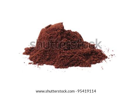 ground coffee isolated on white background - stock photo