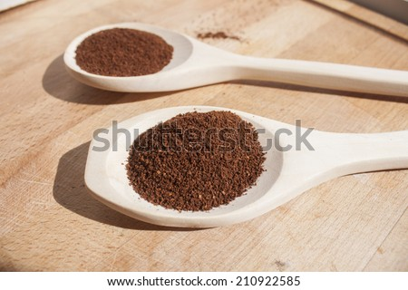 Ground coffee on a wooden spoon