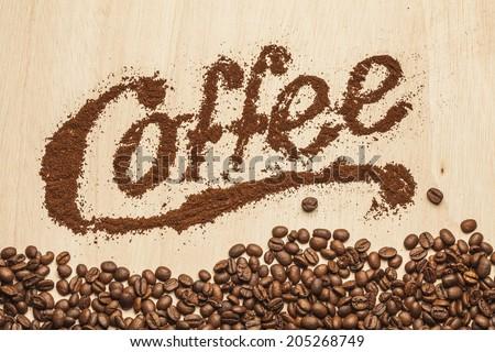 Ground coffee typography - stock photo