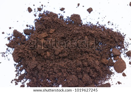 ground coffee,used ,on transparent  dish