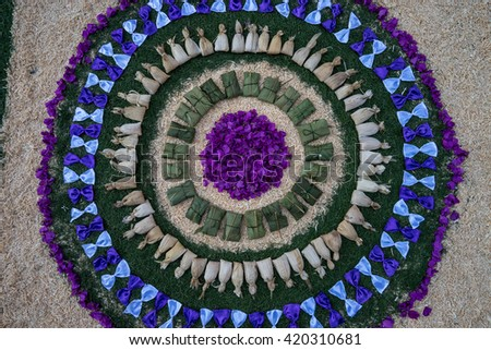 ground cover during holy week in guatemala made of sawdust - stock photo