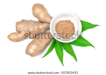 Ground ginger in bowl and root isolated on white background cutout.