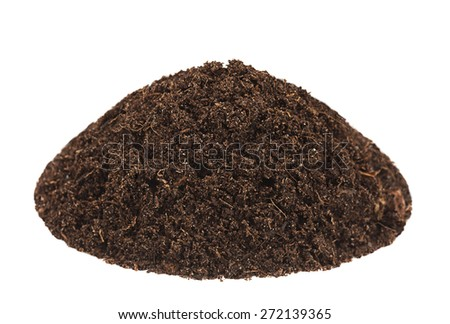 Ground heap closeup isolated on white background