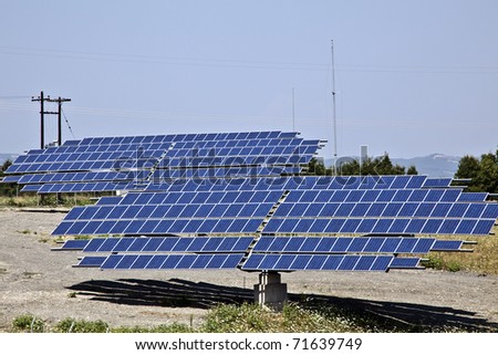 Ground installation of photovoltaic modules, solar panels. - stock photo