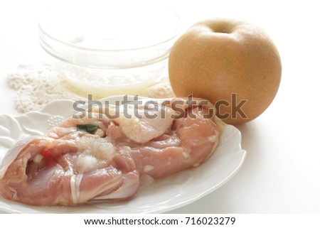 ground pear and chicken for Korean cooking image