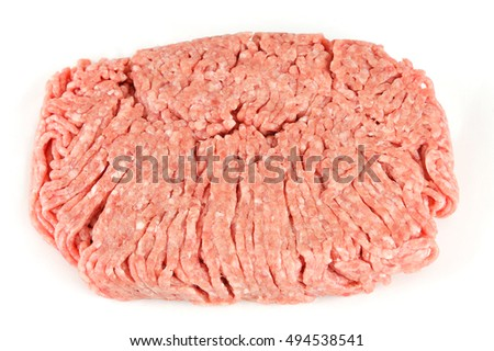ground pork  isolated on white background
